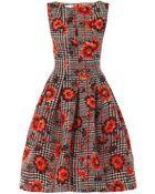 Oscar de la Renta Houndstooth and Flower Silkjacquard Dress - Lyst
