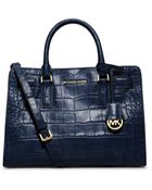 Michael Kors Dillon Embossed-Leather Satchel - Lyst