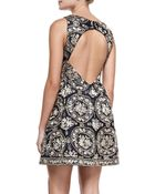 Alice + Olivia Lilyanne Embroidered Openback Dress - Lyst