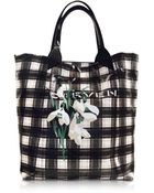Carven Black And White Plaid Canvas Tote - Lyst