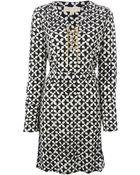 MICHAEL Michael Kors Lace-Up Chain Detail Dress - Lyst