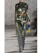 Loewe Gold Metallic Pleated Dress - Lyst