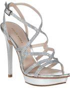 Pelle Moda Farah Evening Sandal Silver Leather - Lyst