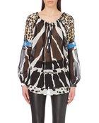 Roberto Cavalli Zebra-Print Silk Blouse - Lyst