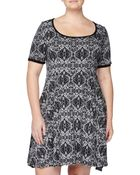 Melissa Masse Lace-Print Fit-And-Flare Dress, White/Black - Lyst
