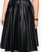 Asos Curve Midi Skirt In Pleated Leather Look - Lyst