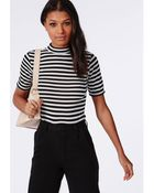Missguided Mid Sleeve Ribbed Top Stripe - Lyst