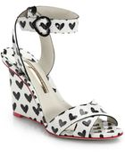 Sophia Webster Amanda Heart-Print Patent-Leather Wedge Sandals - Lyst