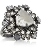 Lanvin Iconic Gunmetal-Tone Crystal Ring - Lyst