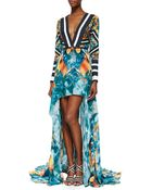 Elie Saab Mixed-Print Long-Sleeve High-Low Gown - Lyst