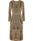 Etro Printed Wool-Crepe Dress - Lyst