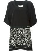 MM6 by Maison Martin Margiela Flower Printed T-Shirt Dress - Lyst