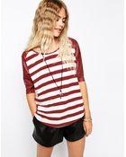 Mink Pink Slick Stripes Raglan T-shirt with Pu Sleeves - Lyst