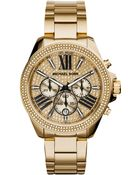 Michael Kors Women'S Chronograph Wren Gold-Tone Stainless Steel Bracelet Watch 42Mm Mk6095 - Lyst