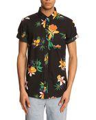 Obey Black Flower Print Shirt - Lyst