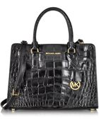Michael Kors Dillon Black Embossed Croco Leather Ew Satchel - Lyst