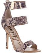 Sam Edelman Addie High-Cut Sandal Taupe Snake - Lyst