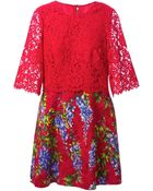Dolce & Gabbana Lace Embossed Wisteria Print Dress - Lyst