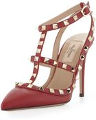 Valentino Rockstud Leather Slingback Sandal Scarlet - Lyst
