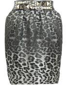 River Island Grey Animal Print Skirt - Lyst