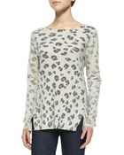 Rebecca Taylor Leopard-Print Knit Pullover - Lyst