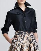 Carolina Herrera Classic Silk Taffeta Blouse - Lyst