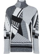Nicole Farhi Patchwork Knit High Neck Jumper - Lyst