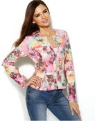 Inc International Concepts Floral-Print Peplum Scuba Jacket - Lyst