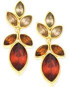 T Tahari Goldtone Medium Coral Crystal Drop Earrings - Lyst