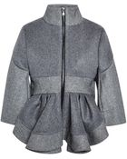 Antonio Berardi Birds-Eye Bonded Wool Peplum Coat - Lyst