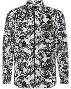 Jil Sander Graphic Floral Print Shirt - Lyst