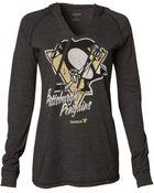 Reebok Women'S Long-Sleeve Pittsburgh Penguins Divided Hooded T-Shirt - Lyst