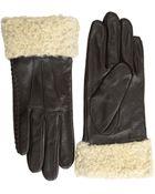 Lauren by Ralph Lauren Shearling Cuff Leather Glove - Lyst