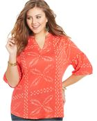 Lucky Brand Jeans Lucky Brand Plus Size Three-Quarter-Sleeve Printed Top - Lyst