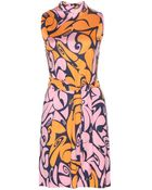 Miu Miu Sleeveless Printed Silk Dress - Lyst
