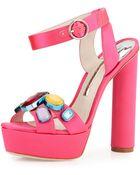 Sophia Webster Amanda Jewel-Embellished Platform Sandal - Lyst