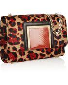 Jimmy Choo Alba Leopard-Print Calf Hair Shoulder Bag - Lyst