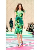 Burberry Floral-Print Silk-Blend Shift Dress - Lyst