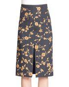 Michael Kors Floral Embroidered Denim Skirt - Lyst