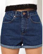 Asos High Waist Denim Mom Shorts In Indigo - Lyst