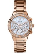 Guess Watch Womens Chronograph Rose Gold Tone Stainless Steel Bracelet 41mm - Lyst