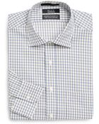 Saks Fifth Avenue Black Label Modern Classic-Fit Mini Check Two-Ply Cotton Dress Shirt - Lyst