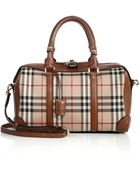 Burberry Alchester Medium Horseferry Check & Leather Bowler Bag - Lyst