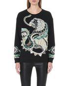 Roberto Cavalli Embroidered-dragon Cotton Sweatshirt - Lyst