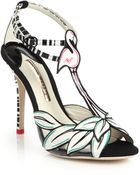 Sophia Webster Flamingo-Print Leather Sandals - Lyst