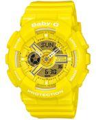 G-Shock Baby-G Women'S Analog-Digital Yellow Resin Strap Watch 46X43Mm Ba110Bc-9A - Lyst