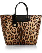 Dolce & Gabbana Crespo Leopard-Print Coated-Canvas N/S Tote - Lyst