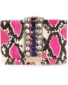 Gedebe Snakeskin Effect Rhinestone Embellished Shoulder Bag - Lyst