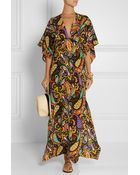 Etro Printed Silk-Crepe Coverup - Lyst