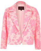 River Island Fluro Pink Jacquard Cropped Jacket - Lyst